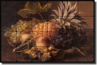 Jensen Fruit Kitchen Tumbled Marble Mural Backsplash