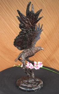 Stunning Eagle Landing Genuine Hot Cast Bronze Statue on Marble