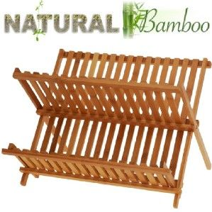 Wooden Bamboo Dish Drainer Foldable Kitchen Drying Rack Storage Holder
