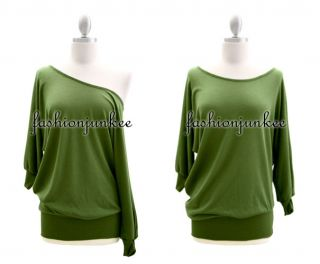Olive Green Knit Off The Shoulder Top Sweater Tunic Banded Shirt