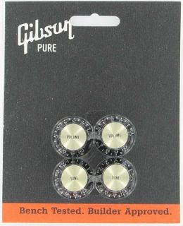 Gibson Top Hat Guitar Knobs Black w Gold Metal Insert