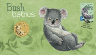 2011 Bush Babies Complete 5 Coin Set $1 First Day Cover Koala