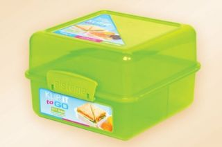 Sistema Klip It Lunch Cube Food Storage Container Blue Pink Green