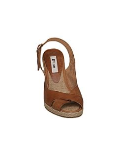 Dune Gong d cross strap slingback wedge sandals Tan