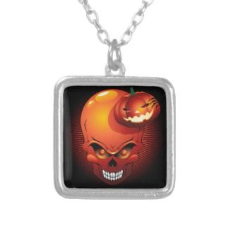 Halloween Skull and Pumpkin Necklace