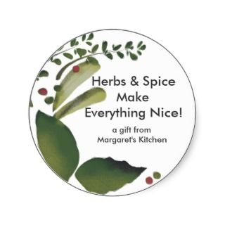 Mixed savory herbs gift tag stickers, Herbs & S