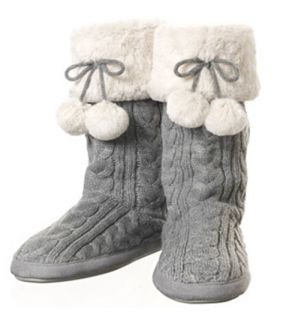 Dearfoams Cable Knit Tall Slipper Boot