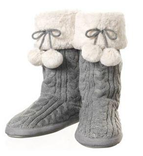 Dearfoams Cable Knit Tall Slipper Boot