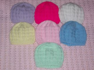 Girls Boys Basketweave Pattern Hand Knitted Baby Beanie Hat