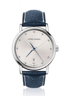 Jensen Mens Dual Time Watch 519 Ruthenium Grey Dial Koppel