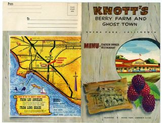 Knotts Berry Farm Ghost Town Gift Catalog Menu Booklet Park Map 1957