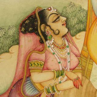 Indian Hindu Religion Radha Krishna Miniature Painting Vintage
