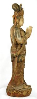XL Wood Kwan Yin Statue Goddess Guan Quan Deity 6ft