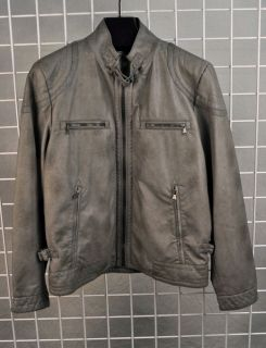 Calvin Klein Faux Leather Motorcycle Jacket Gray Mens Large