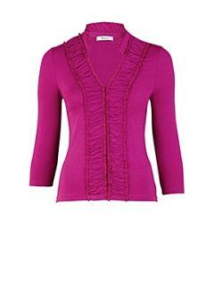 Precis Petite Cerise ruffle front jersey top Pink