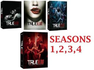 True Blood DVD SET. SEASONS 1 4 COMPLETE SET. BRAND NEW. SEASON 4 JUST