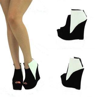 Black White Open Peep Toe High Heel Platform Wedge Ankle Boot Bootie