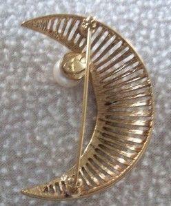 Vintage Oscar de La Renta Gold Tone Crescent Moon Pin Brooch