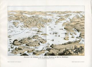 FINLAND HELSINKI HELSINGFORS PANORAMA SWEABORG Antique Print H.Kraemer