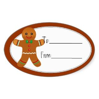 Cute Gingerbread Man Christmas Tag Oval Sticker