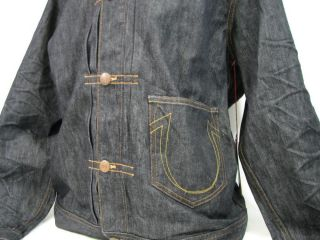 True Religion Jeans Kyle Phoenix Denim Jacket Inglorious Black Mens Sz