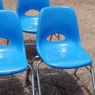Vintage Krueger Blue Fiberglass Small Side Stacking Chair Price