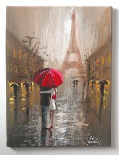 Pete Rumney Paris Eiffel Tower France Buy Original Red Umbrella Art