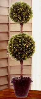 Pre Lit Artificial Topiary Christmas Tree Decorated