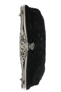 La Regale Black Embellished Lined Evening Handbag Small BHFO