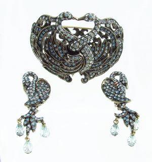 Signed Swan Design Crystal Bangle Bracelet M L Earring Set New