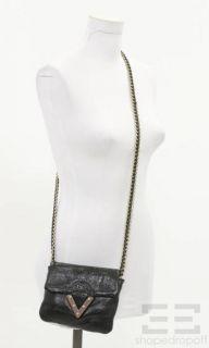 Pour La Victoire Black Leather Chain Strap Crossbody Purse