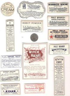 Collection of Old Medicine Bottle Labels from 1800s Must See