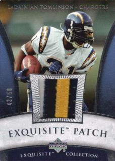 LaDainian Tomlinson 2006 UD Exquisite 3 CLR Game Used Logo Patch 43 50
