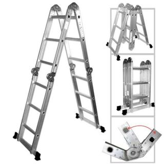 New 12 5 Multi Purpose Ladder Aluminum Adjustable Folding Step
