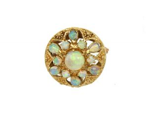 Stylish Vintage 14k Gold Fiery Opals Ladies Pin Brooch