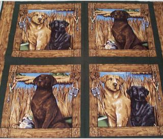 Dogs Life Hunting Dogs Lab Pillow Panels Fabric Cotton