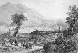 Italy Town Lake of Como Scarce Antique Print Vintage