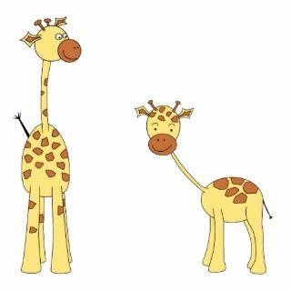 Adult and Baby Giraffe. Cartoon Acrylic Cut Out