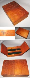 Wood Jewelry Box Crafted by Peter Kwasniewski Hand Carved C1960