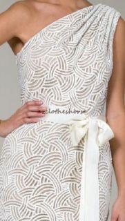 Tadashi Shoji Ivory Lace One Shoulder Cocktail Dress 4 $328