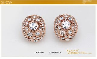 GP Rose Gold Swarovski Crystal Cruve Huggie Earrings Laday Gift