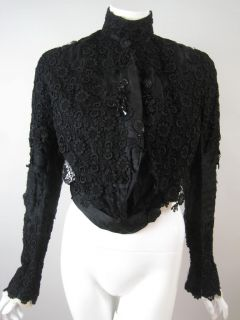 Vtg Antique Victorian Lace Bodice Beaded Silk Chiffon Black Mourning