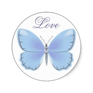 Blue Butterfly Love Wedding Envelope Seal Stickers