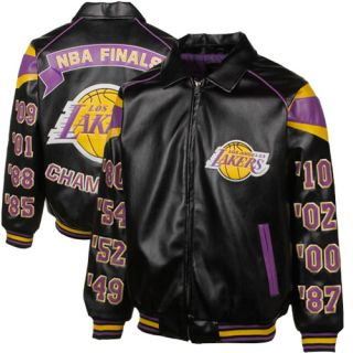 Los Angeles Lakers NBA Champs Commemorative Pleather Jacket Black