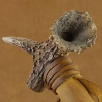 LAKOTA Sioux Indian Buckskin Leather Antler Peace Pipe