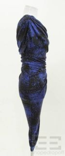 Laila Azhar Black & Blue Print Jersey Knit Ruched One Shoulder Dress
