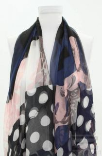 Christian Lacroix Pink Navy Blue Floral Print Silk Scarf New