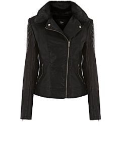 Oasis Souza faux leather biker jacke Black