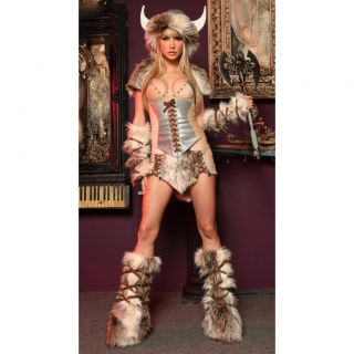 Ladies Womens Deluxe Sexy Furry Viking Fancy Dress Costume Fits Sizes