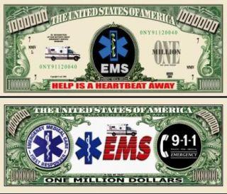 EMS Emergency Medical Services Dollar Bills 2 $1 00